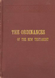 The Ordinances of the New Testament