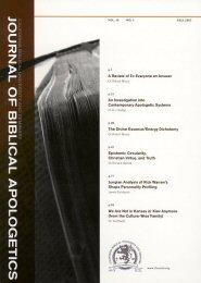 Journal of Biblical Apologetics, vol. 10
