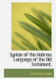 Syntax of the Hebrew Language of the Old Testament
