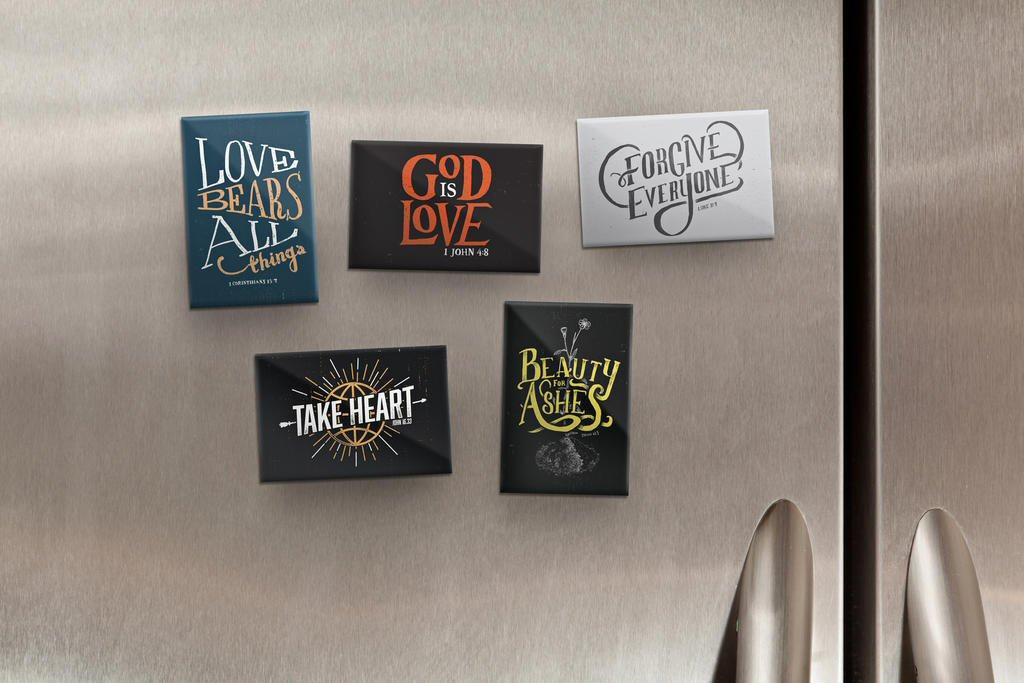 Metal Bible Verse Magnets (Set of 5)